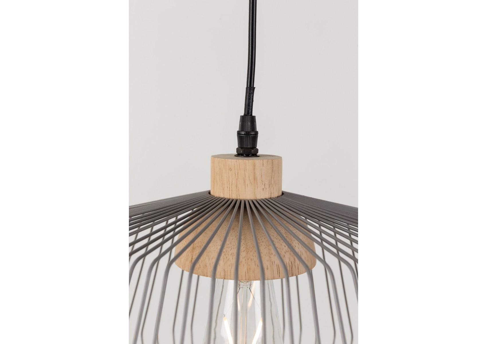 suspension birdy wide en m tal gris mat et finition en rotin tress. Black Bedroom Furniture Sets. Home Design Ideas