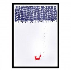 Poster Alone in the forest - Renard en Forêt par Robert Farkas  50 x 70 cm