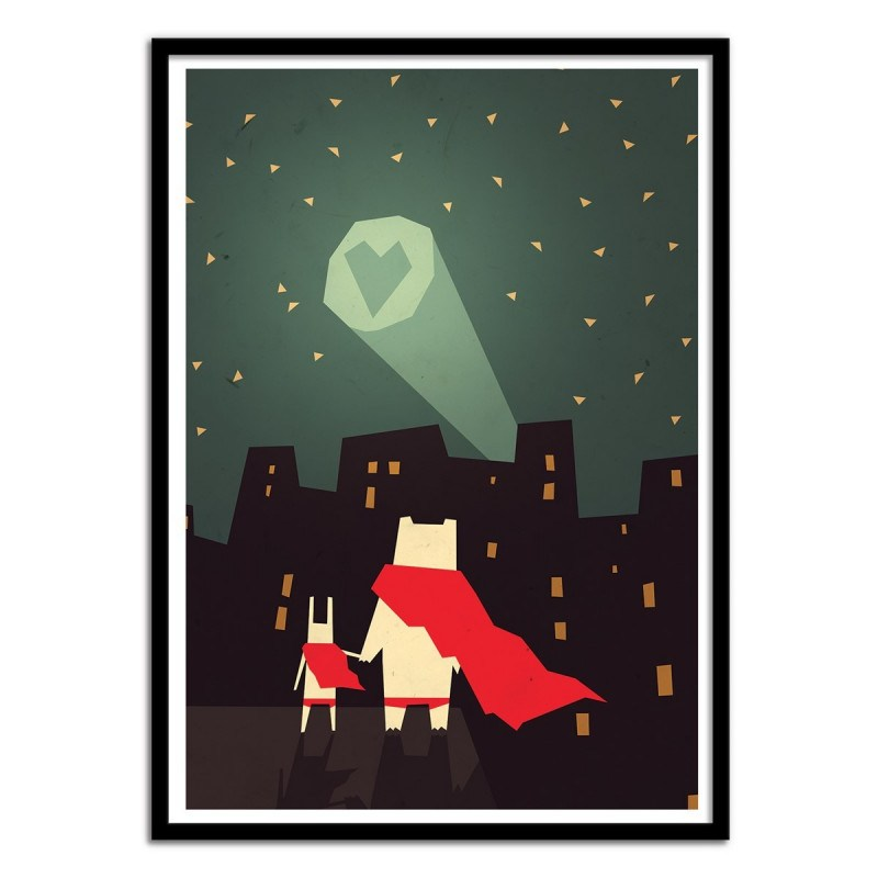 Poster Lapins super-héros The city needs Love - Yetiland 50 x 70 cm