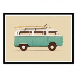 Poster Van et surf Blue Van - Florent Bodart 50 x 70 cm