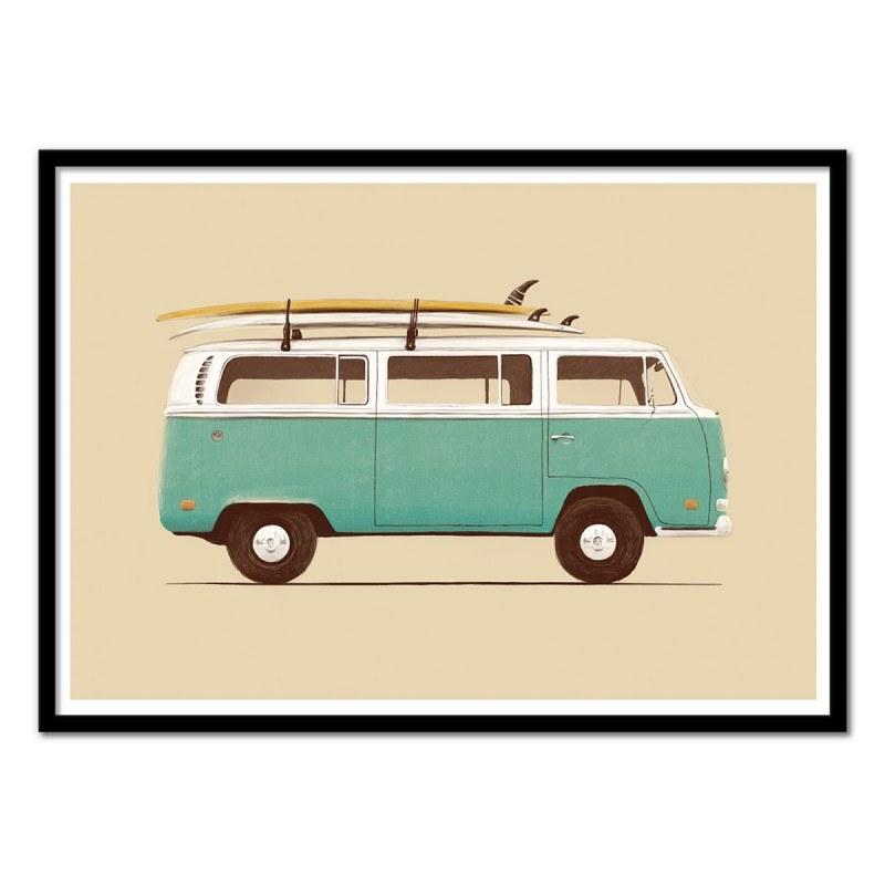 Poster Van et surf Blue Van - Florent Bodart