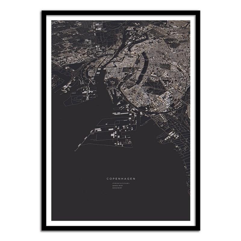 Affiche Copenhagen vue du ciel 50 x 70 cm