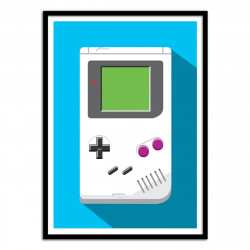 Poster Game Boy Retro Gamer - Olivier Bourdereau