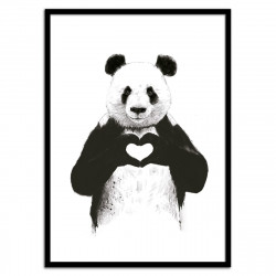 Poster Panda coeur All you need is love Balazs Solti