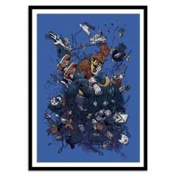 Poster Mario et Sonic System Wars Georges Le Mercenaire