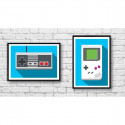 2 Affiches d'art 70 x 50 cm Gameboy et Nes