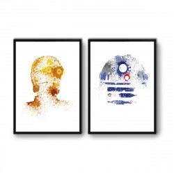 2 Affiches d'art 50 x 70 cm C3PO et R2D2