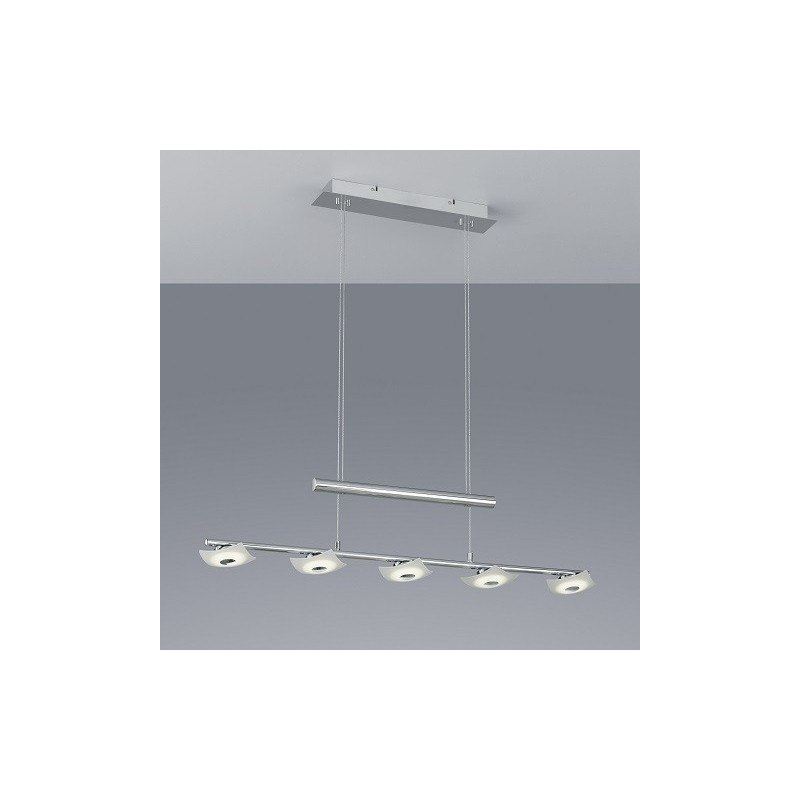 Suspension design Coronas Chrome et Verre satiné 5L