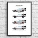 Poster DeLorean DMC-12 - Olivier Bourdereau 50 x 70 cm