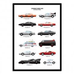 Poster de voitures mythiques de films - Olivier Bourdereau