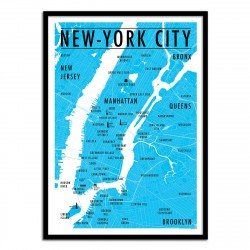 Poster Carte New-York City - Olivier Bourdereau