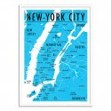 Poster Carte New-York City - Olivier Bourdereau